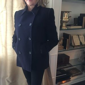 Ellen Tracy Navy Blue double breasted pea coat